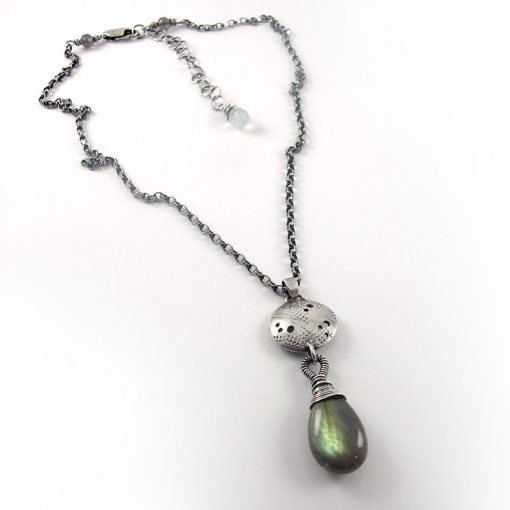Graffiti Labradorite Drop Necklace