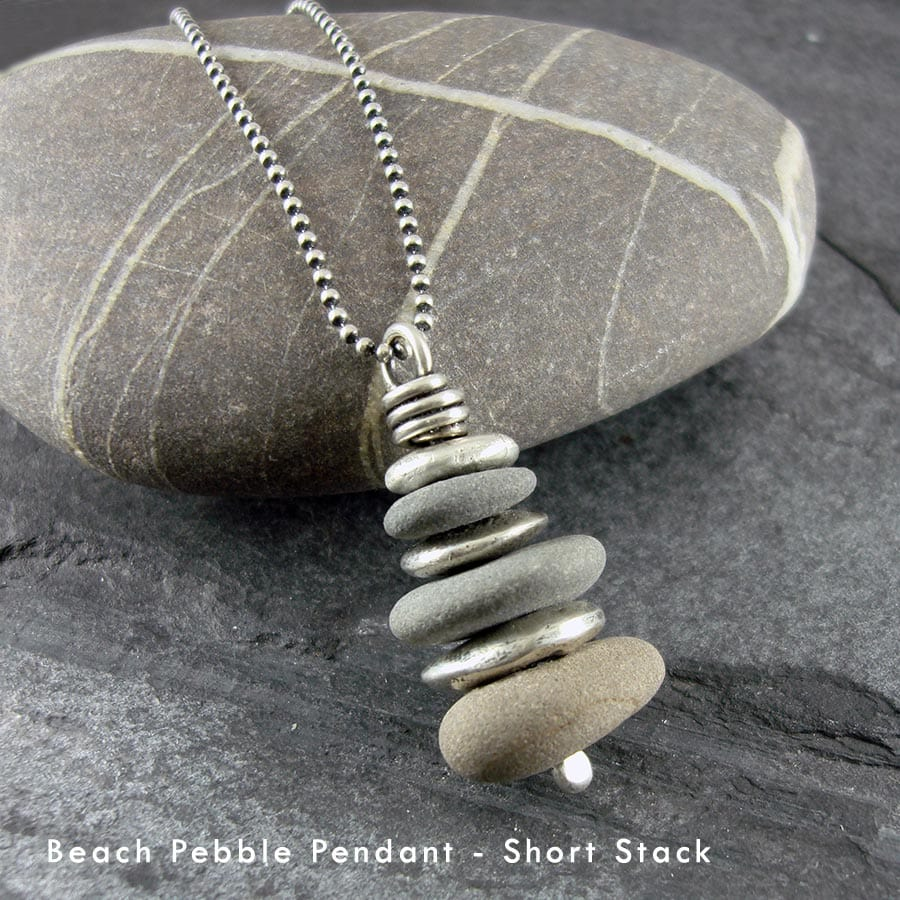 Beach pebble and silver stack pendant, long chain