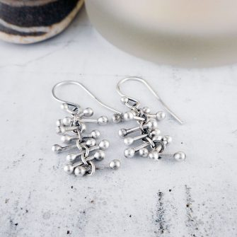 Barbell Silver Earrings, short