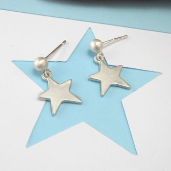 Twinkle Star Silver Drop Earrings, ball and post fitting