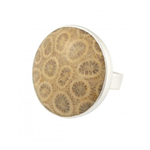 fossilised coral and silver ring