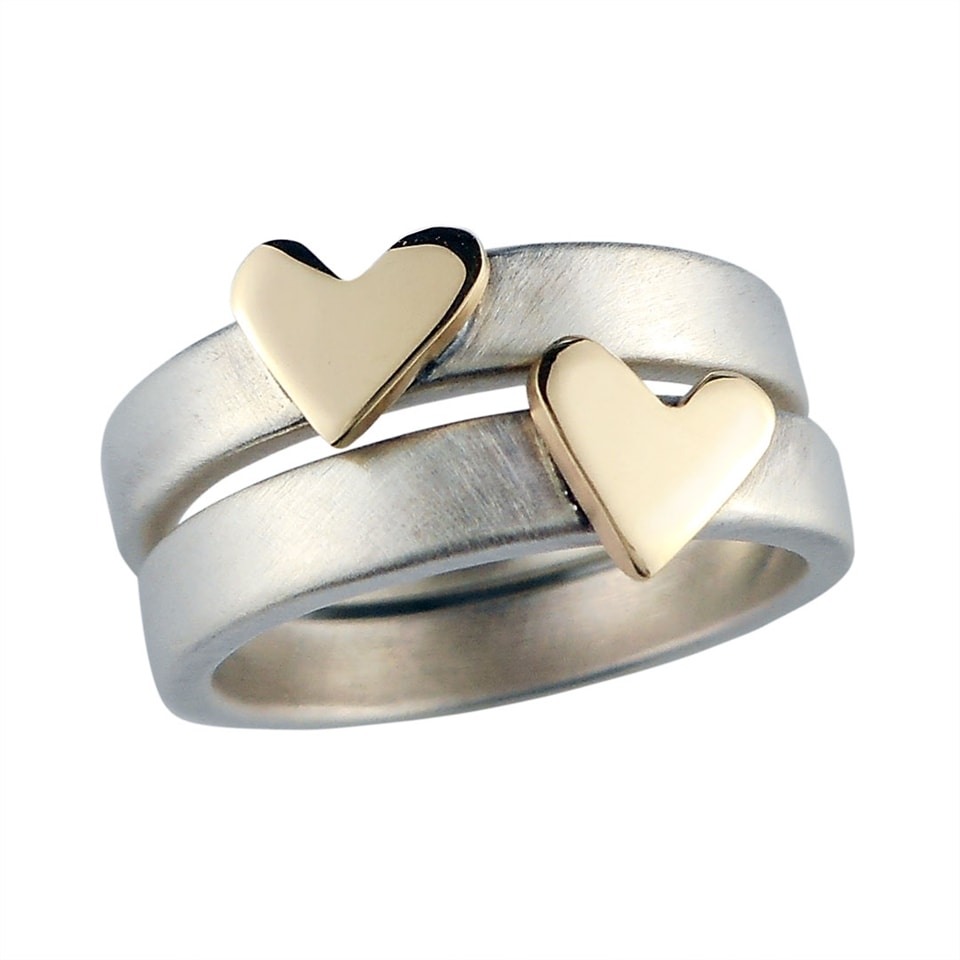 Personalised Heart of Gold silver and 9ct gold ring by Camali Design