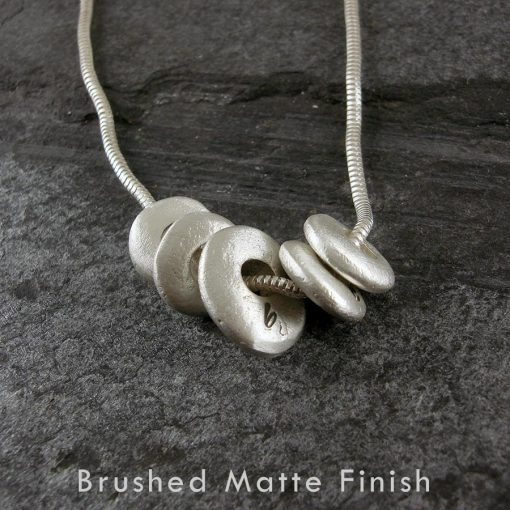 Personalised Pebble Sterling Silver Necklace in brushed matte finish