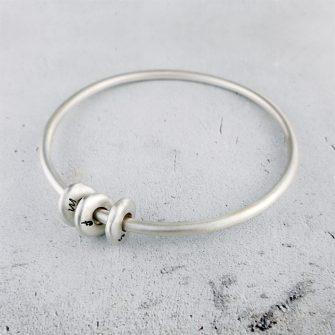 Silver Pebble Bangle Bracelet