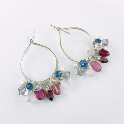 Earring Club June 2017 pink, white and blue hoop earrings
