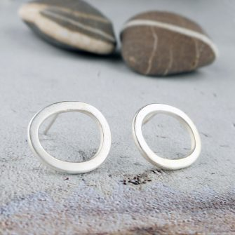 Rock Pools stud earrings in brushed silver