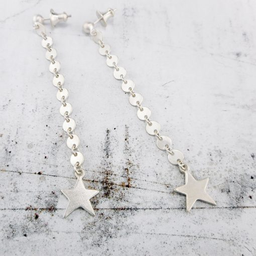 sequin star drop earrings in brushed silver