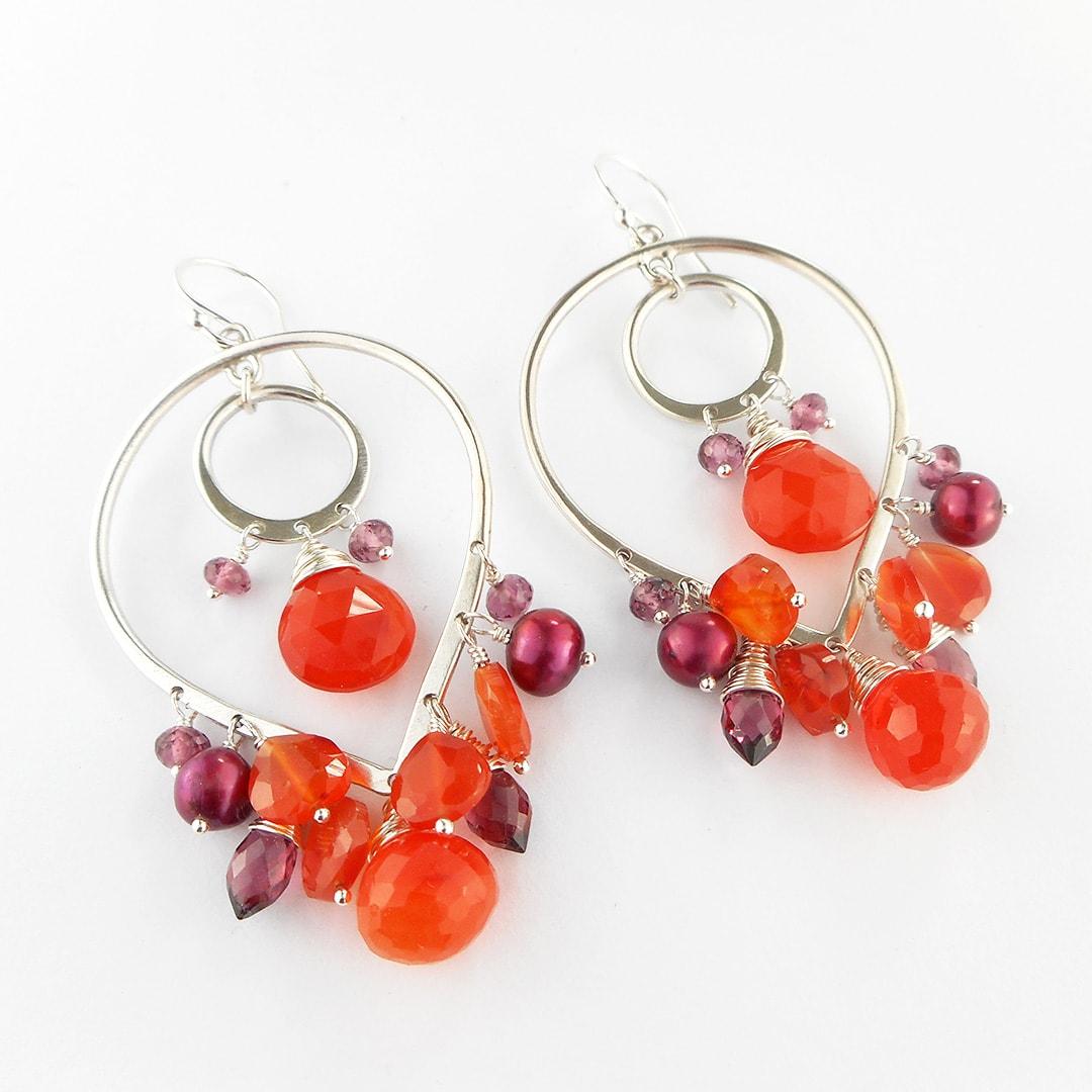 Hot gem chandelier earrings - Camali Design Jewellery
