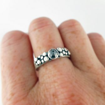 Salt & pepper (grey) diamond and silver granule Cobblestone ring