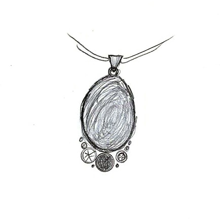 design sketch of beach pebble and silver pendant commission