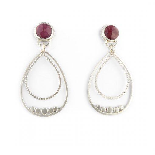 Ruby and silver granule drop earrings
