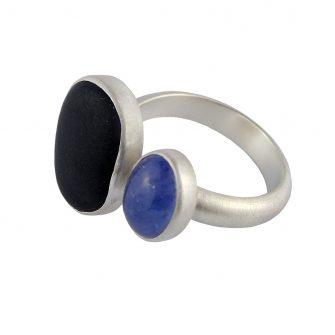 Beach Pebble & Tanzanite Silver Ring