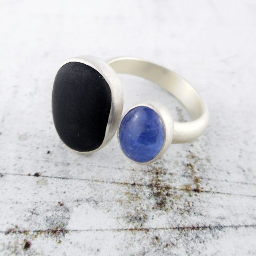 Beach Pebble & Tanzanite Silver Ring