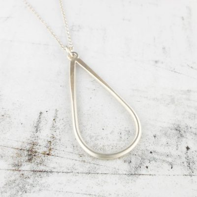 Simplicity drop pendant in brushed silver