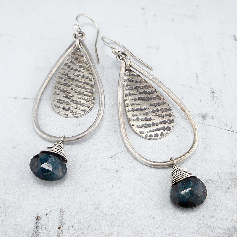 teal blue kyanite and silver drop earrings - september earring club