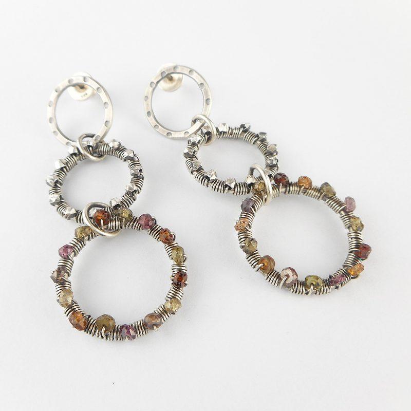 Sapphire wire wrapped loop earrings