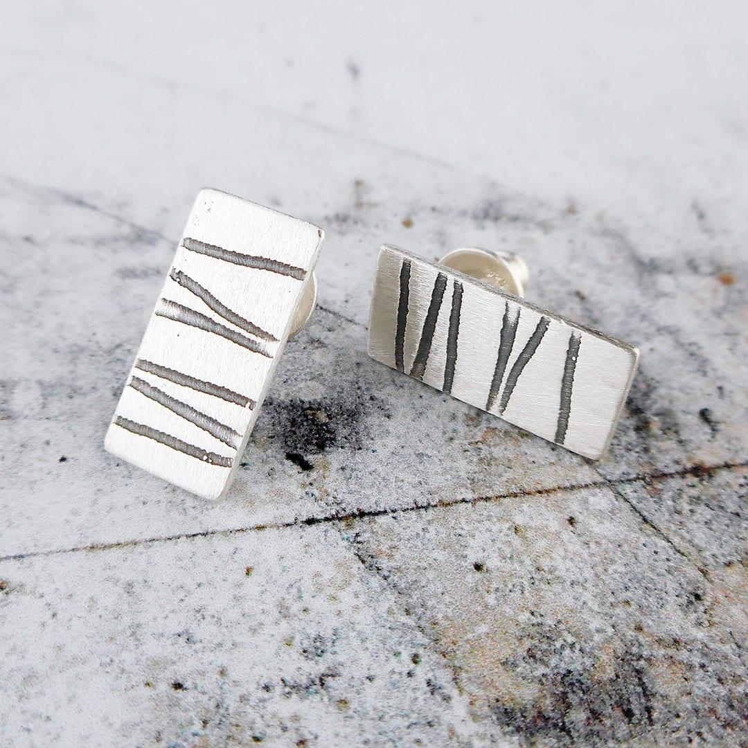 stripey silver stud earrings
