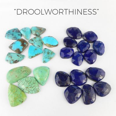 new lapis and turquoise cabochons