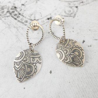 Mehndi Petal Silver Stud Earrings