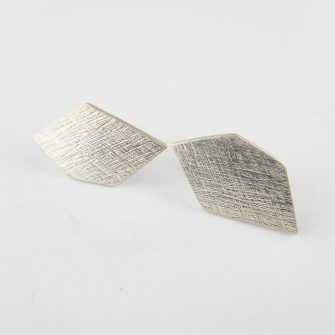 Geo pentagon silver stud earrings
