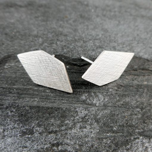 Geo pentagon silver stud earrings