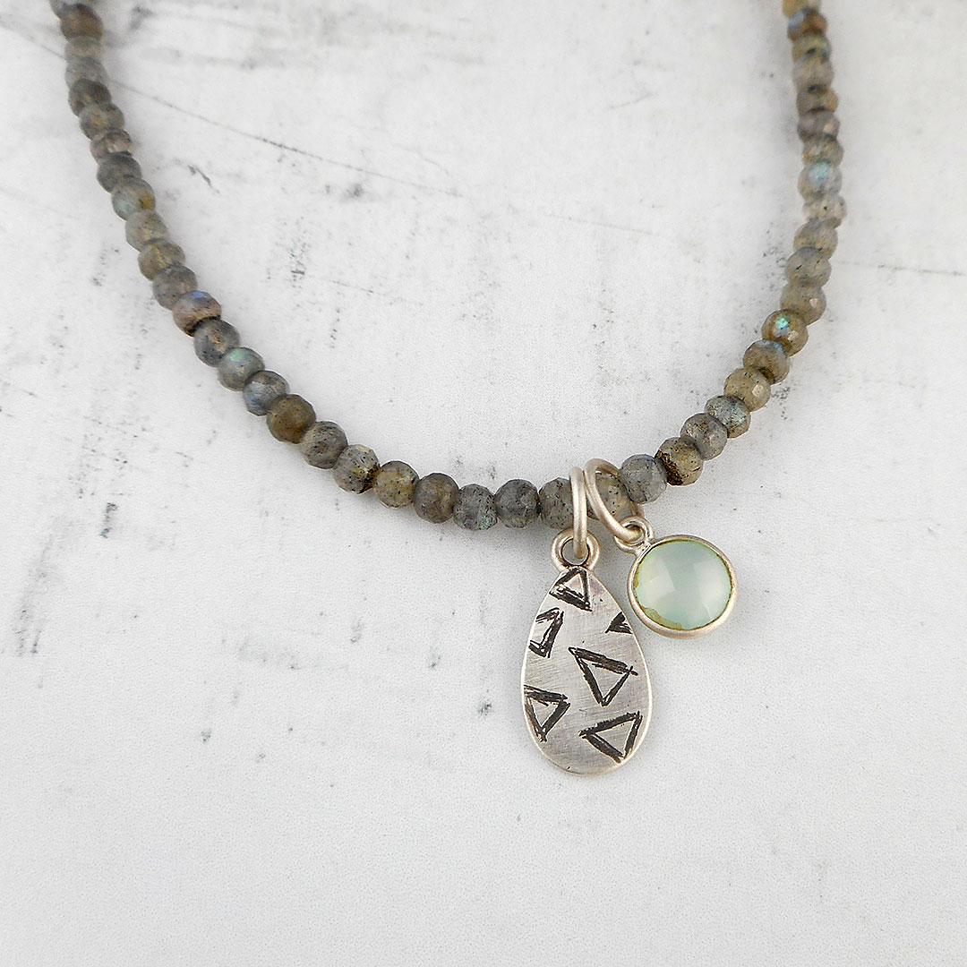 chain si oxidized raw pendant sterling on satellite labradorite silver necklace