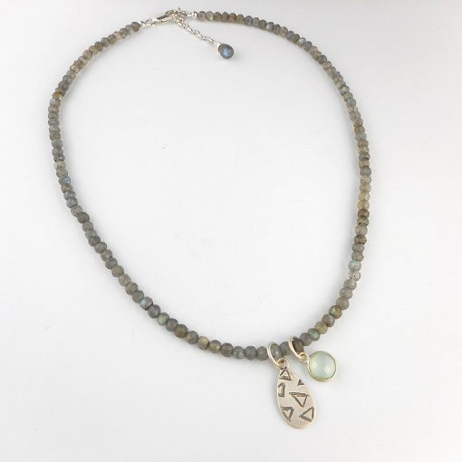 Labradorite necklace with etched pendant