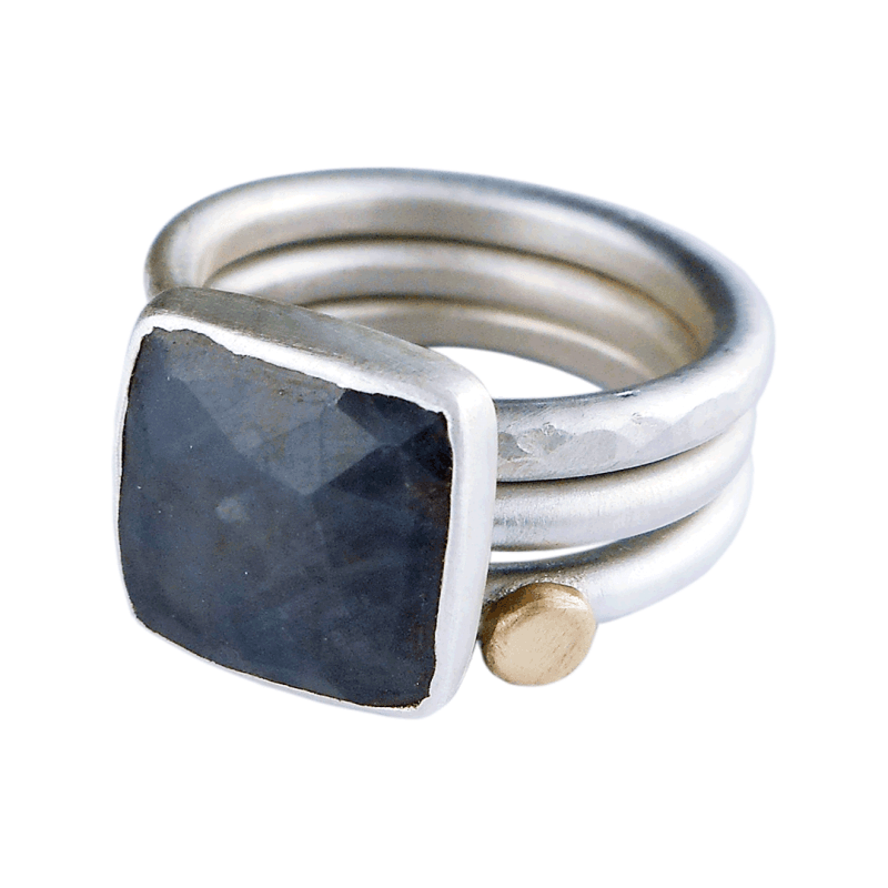 grey sapphire stacking rings with gold accent
