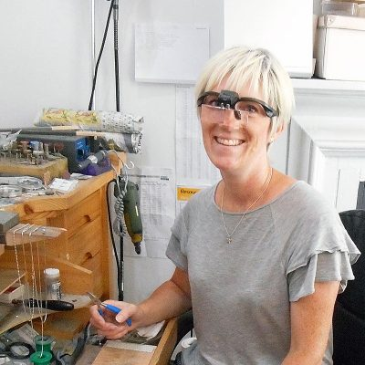 Carin in the workshop
