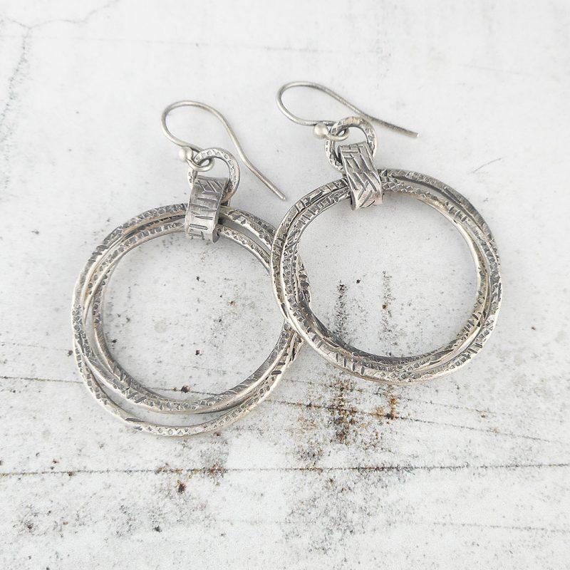 graffiti triple hoop silver earrings