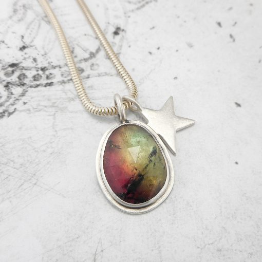One of a kind Tourmaline pendant with star charm in sterling silver