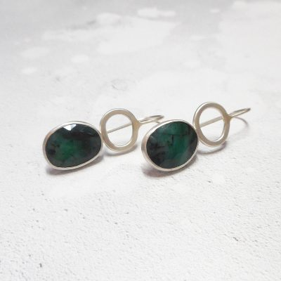 One of a kind Emerald and silver Rock Pools earrings
