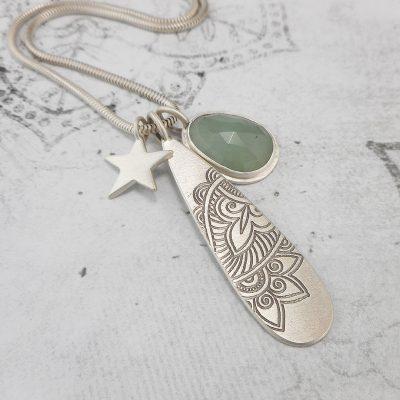 Aquamarine edge pendant with Mehndi and Star pendants