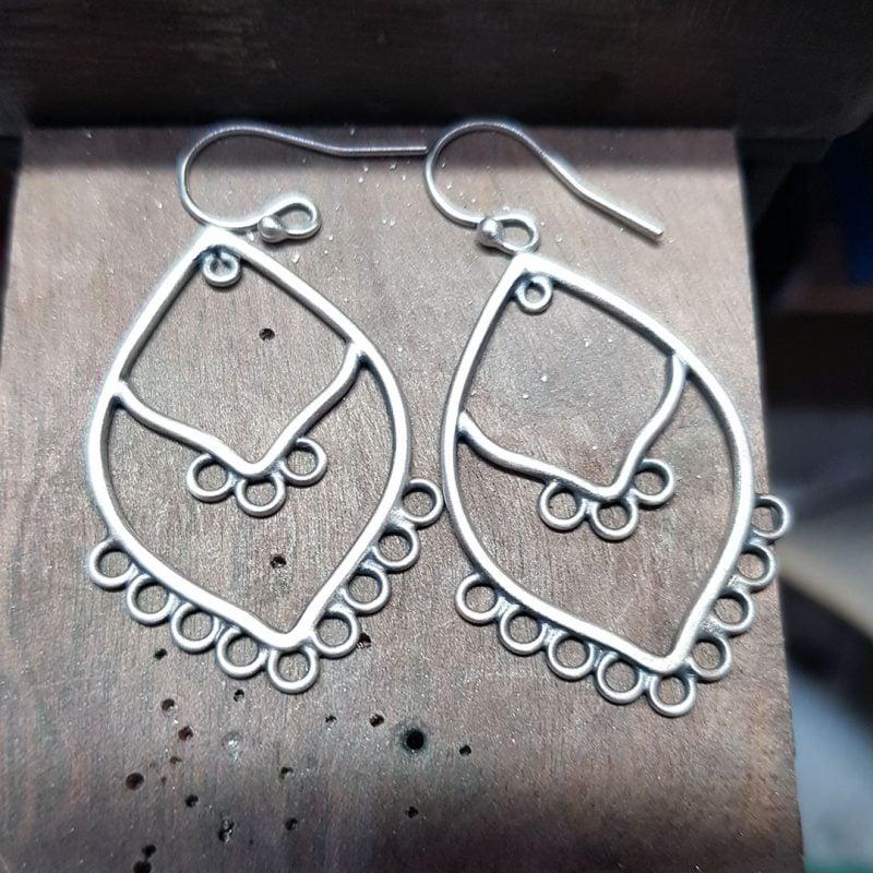 silver chandelier earrings in progress
