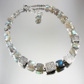 One off Labradorite necklace with handmade textured silver beads