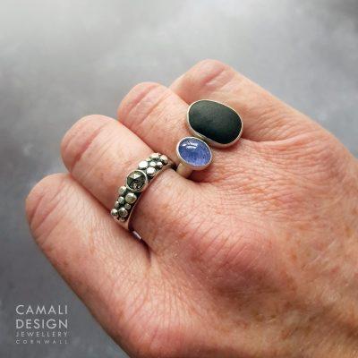Tanzanite and beach pebble ring