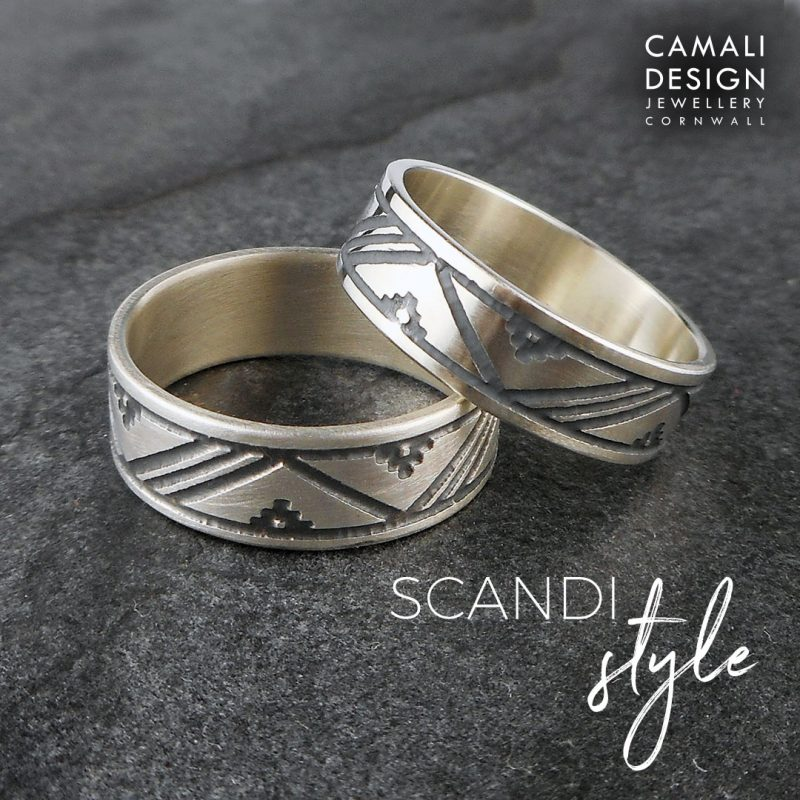 Scandinavian patterned thumb rings in sterling silver with patina and brushed finish