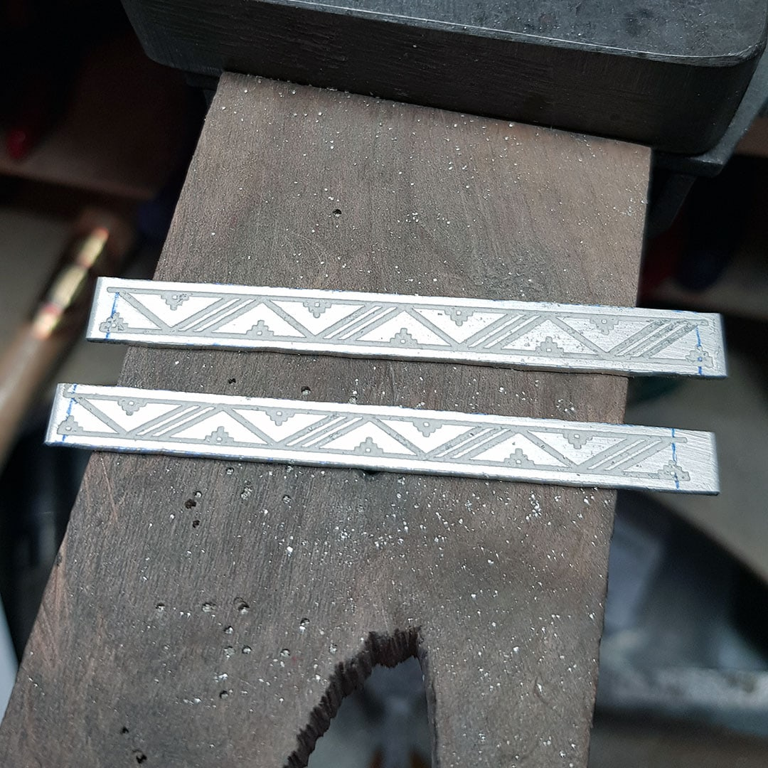 Etched silver stock for Scandi style silver rings