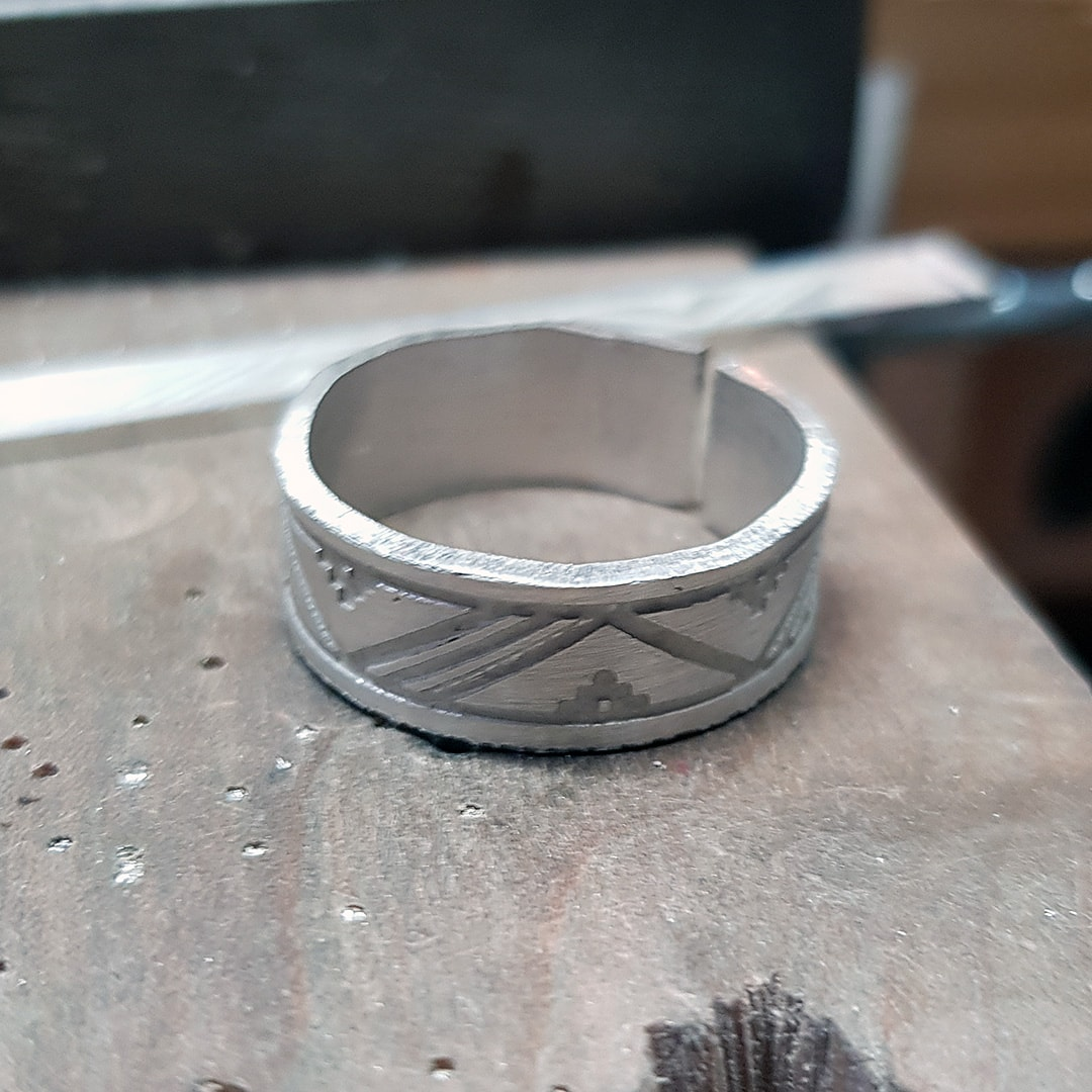 Etched ring ready to be soldered