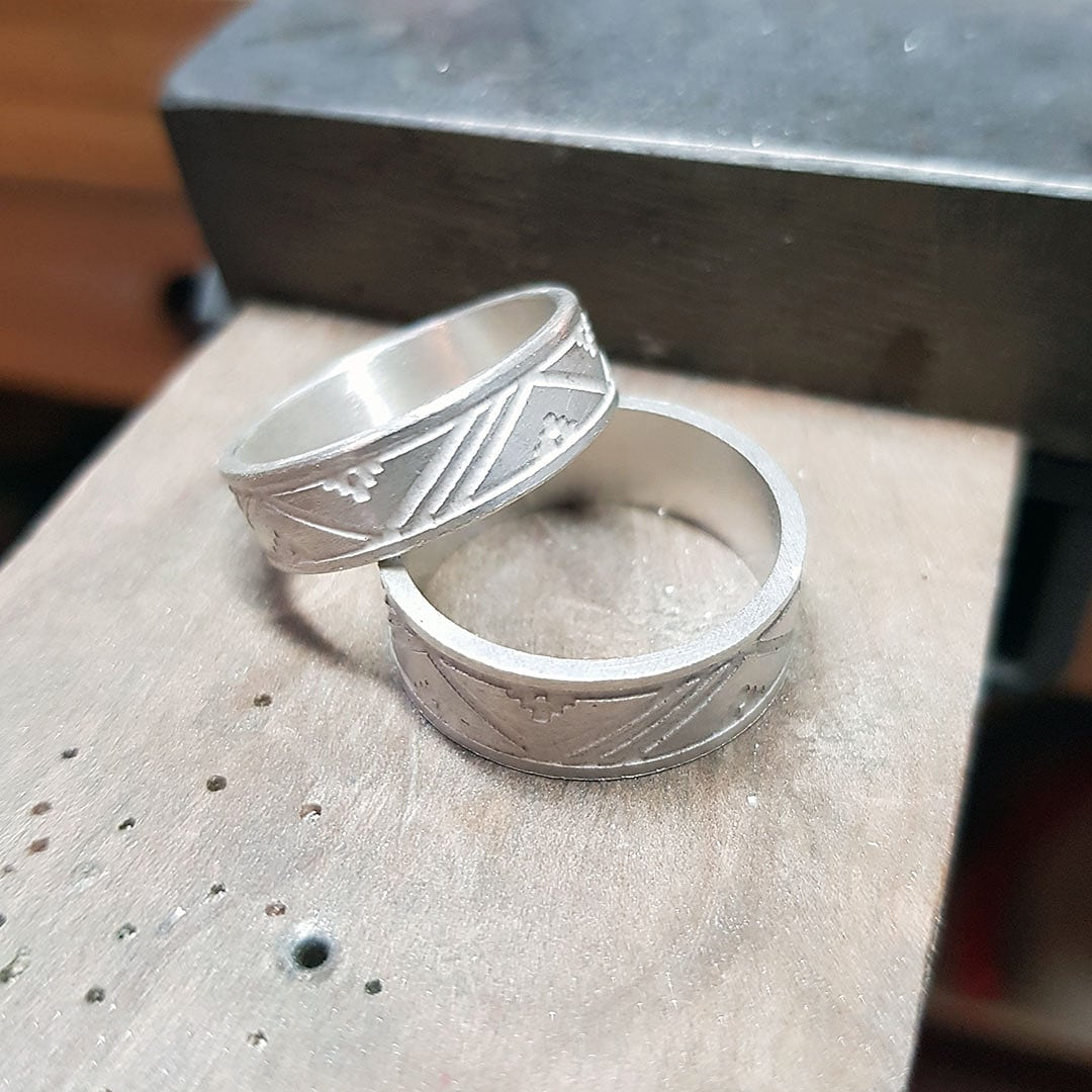 Etched rings ready for patina and brush finish