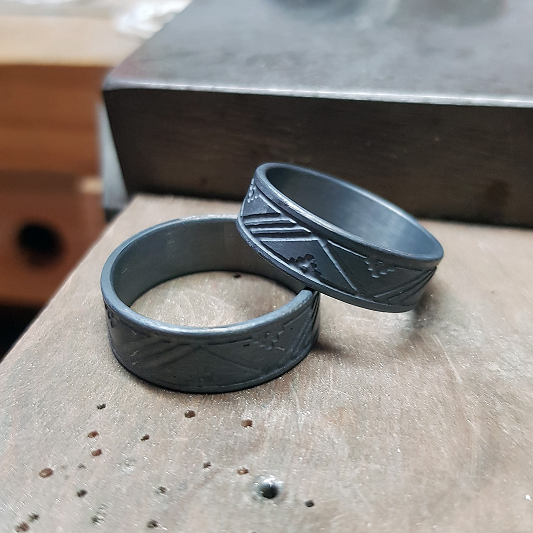 Etched rings with black patina, ready to be finished