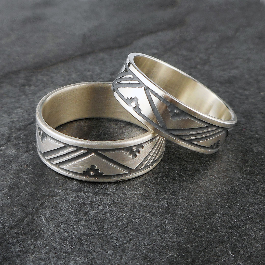Scandinavian patterned thumb rings, handmade in sterling silver