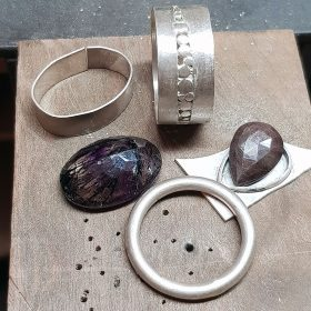 Rings in progress on the bench