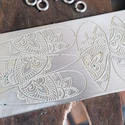 Etched mehndi sheet for pendants