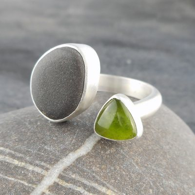 Beach pebble and Vesuvianite ring