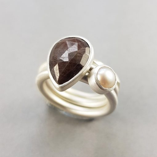 brown sapphire and white pearl stacking rings