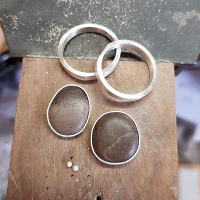 French beach pebble and silver rings