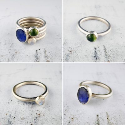 Blue and green sapphire, and rainbow moonstone stacking rings - UK size P 1/2