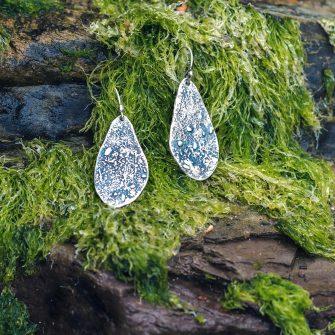 Textured silver drop earrings