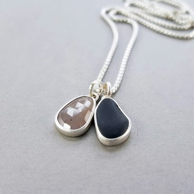 Light grey sapphire and beach pebble pendants